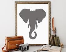 Elephant Printable, 11x14, Instant Download Elephant Art Print Elephant Head Safari Elephant Wall Art