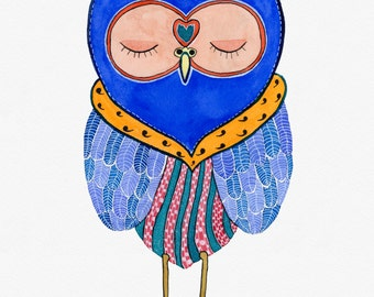 Royal Snoozy Owl, Watercolor Art Print, 8x10 inches