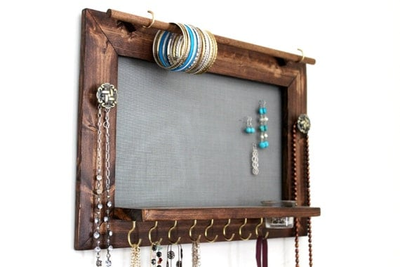 Organic: Wall Jewelry Organizer |Wooden Wall Jewelry Organizer