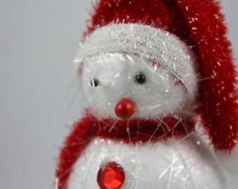 Vintage Snowman Christmas Ornament - Sparkly!