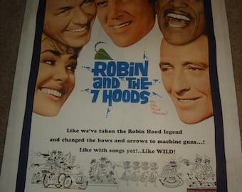 Original 1964 Robin And The Seven Hoods One Sheet Movie Poster Linenbacked 7 Rat Pack Frank Sinatra, Sammy Davis Jr, Dean Martin Bing Crosby