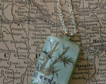 Chinese Bamboo Postage Stamp Resin Necklace
