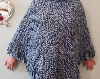 Crocheted Pancho For Girls and Boys, Blue Pancho, Gift for her/him, Fringe crochet pancho, Crochet blue shawl