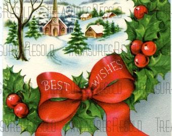 Best Wishes Wreath Church Christmas Card #362 Digital Download