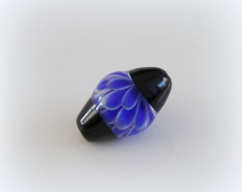 Blue  flower handmade glass bead 1 pcs , lampwork flower bead