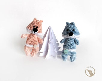 Animal Brooches, Bears crocheted,  Christmas gift, set a couple of bear, toy, blue, teddy bear, brooch accessory, for kids, Made to order
