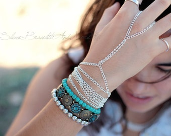 Slave Bracelet Hand Piece Silver Hand Chain Boho Hand Body Jewelry Bohemian Boheme Boho Hippie Vintage