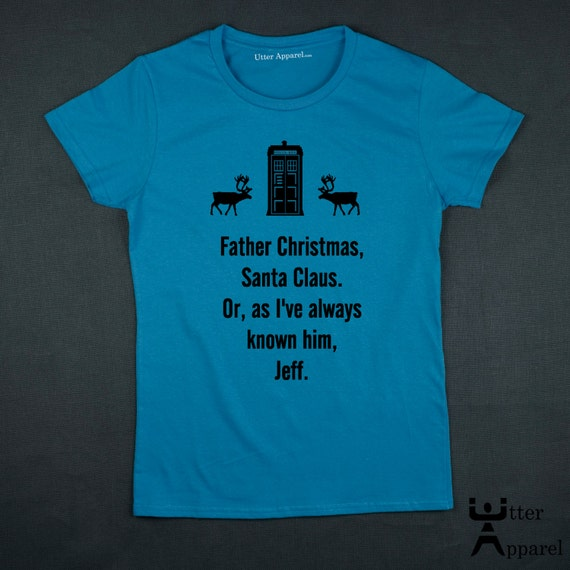 Dr Who Christmas jumper, t-shirt.  Also an ideal Christmas Gift for any woman or girl who is a Whovian (a fan of Dr Who), Black Print