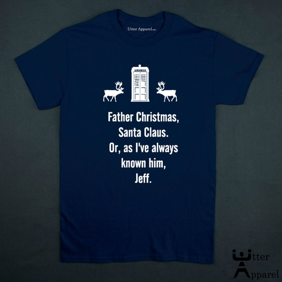 Dr Who Christmas jumper. t-shirt. An ideal Christmas Gift any man, boyfreind or husband who is a Whovian (a fan of Dr Who), white print