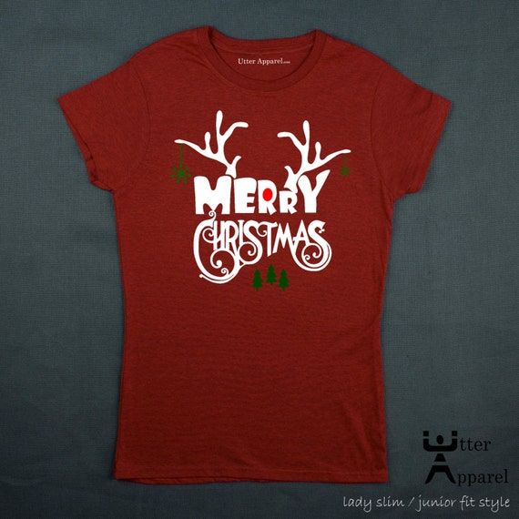 Merry Christmas Ugly Christmas tshirt crew neck short sleeve women red Junior Slim Junior Fit S-2XL antlers woman