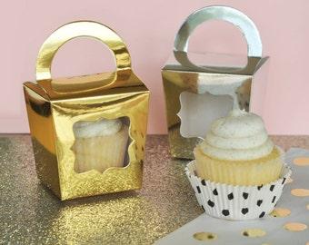Metallic Gold or Silver Cupcake Totes (set of 12)