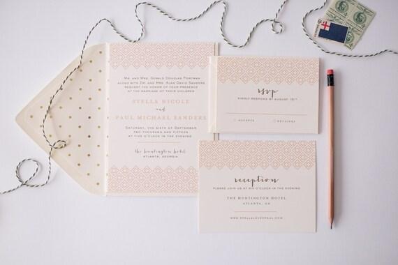 stella wedding invitation sample set -  modern ikat diamond  // lola louie paperie