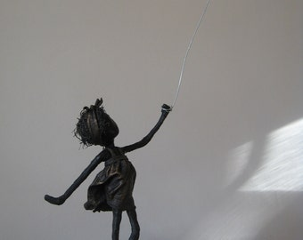 Girl with Red Heart Shaped Balloon in Black and Bronze. Mixed Media sculpture. Made to order