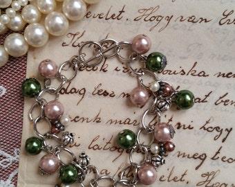 "Autumn Leaves Antique Skeleton Key Charm Bracelet, 7"" Long"