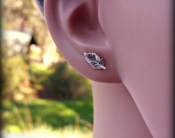 Leaf earrings, Sterling silver leaf post earrings, Rose leaf earrings