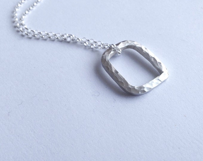 Silver Rectangle Necklace - Unisex Silver Square Pendant - Men's Pendant