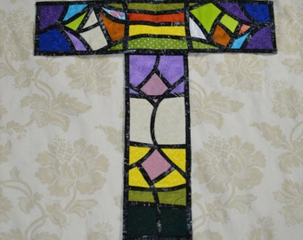 Quilted cross wall hanging, stained glass, alpha and omega design