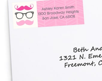 30 Pink Mustache Address Labels - Personalized Baby Shower and Birthday Party Return Address Sticker