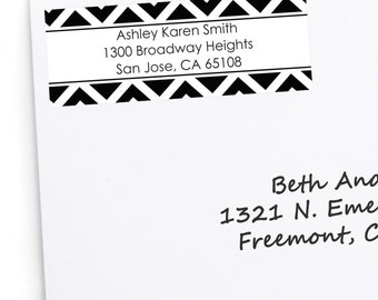 30 Black and White Chevron Address Labels - Personalized Return Address Sticker