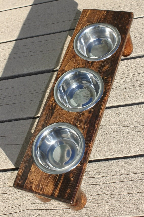 XTRA SMALL Triple Bowl Raised Cat Feeder Elevated Dog Bowls