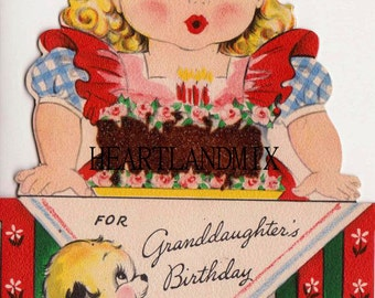 Happy Birthday Grandaughter Vintage Digital Image