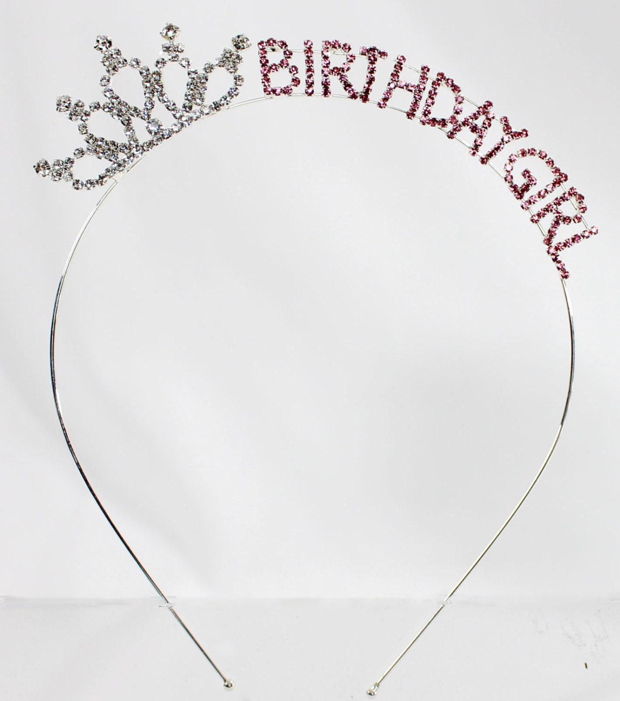 Birthday Girl Adult Pink Crystal Tiara Headband Princess Sweet