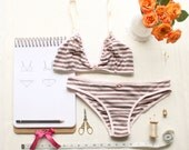 Bra and Panties Set PDF Sewing Pattern Bundle Ohhh Lulu 1306 Brigette Triangle Bra and 1307 Giselle Ruched Back Scrunch Panties
