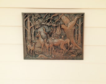Faux Black Forest Panel with Group of Seven Deer