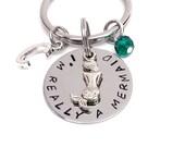 Mermaid-Keychain Hand Stamped Jewelry Initial Birthstone Personalized Gift  Handmade I'm Really A Mermaid Quote Love mermaids handmade