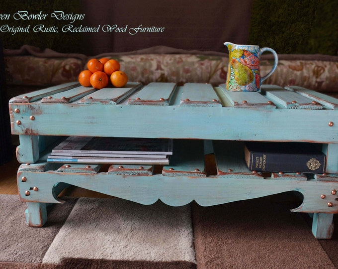 Rustic Reclaimed Wood Coffee Table Hand Painted in Duck Egg Blue with Copper Edging & Tacks Handy Under Shelf Storage Handcrafted to Order