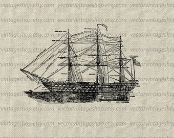 Ship Diagram Vector Clipart - Commercial Use - Old Blueprint Illustration - Printable Navy Art - Royalty Free - Instant Download WEB1750AG