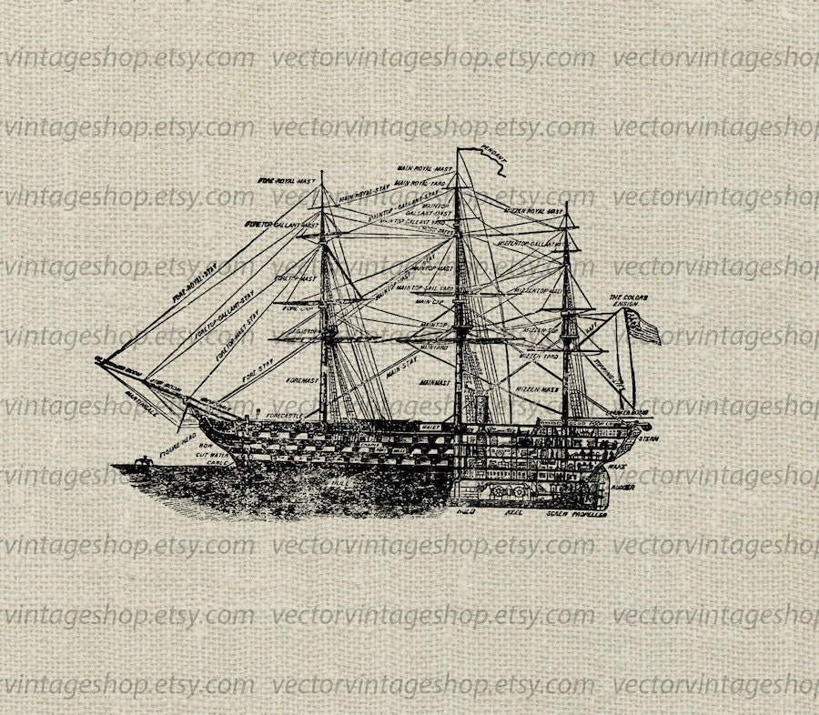 Ship Diagram Vector Clipart Commercial Use Old Blueprint