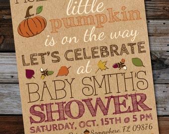 DIY Printable Pumpkin Baby Shower Invitation, Fall, Gender Neutral
