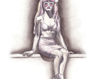 Art - Charcoal/Pencil Drawing of Woman in Latex, Seated, Front - 8.5x11 inch PRINT