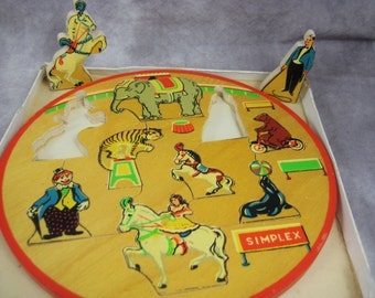 1940s/50s SIMPLEX CIRCUS Puzzle # 106 - Made in Holland - Circular Jigsaw With Original Box - Unique