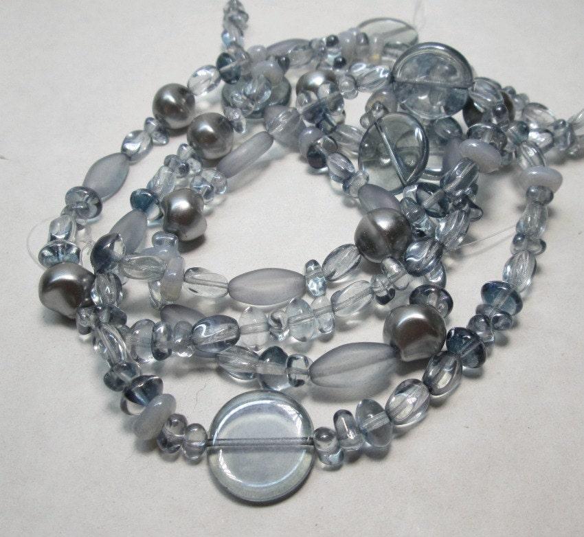 silver blue glass bead assortment glass designer bead