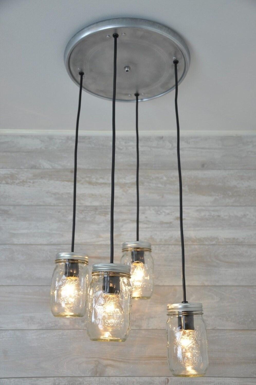 mason jar chandelier pendant light fixture hanging mason. Black Bedroom Furniture Sets. Home Design Ideas