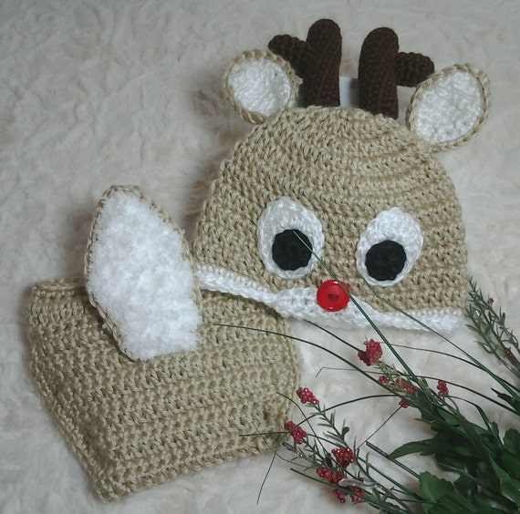 Crochet baby Rudolph Reindeer hat and diaper cover by ...