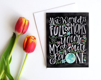 Mothers Day Card, Mothers Day Gift, Chalkboard Card, Celebrating Mom, Hand Lettered, Chalk Art, Chalkboard Art