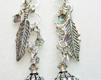 Antique silver feather earrings