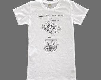 women's patent drawing t-shirt, screen printed t-shirt, alternative apparel t-shirt, TAPE CASSETTE  t-shirt, patent drawing