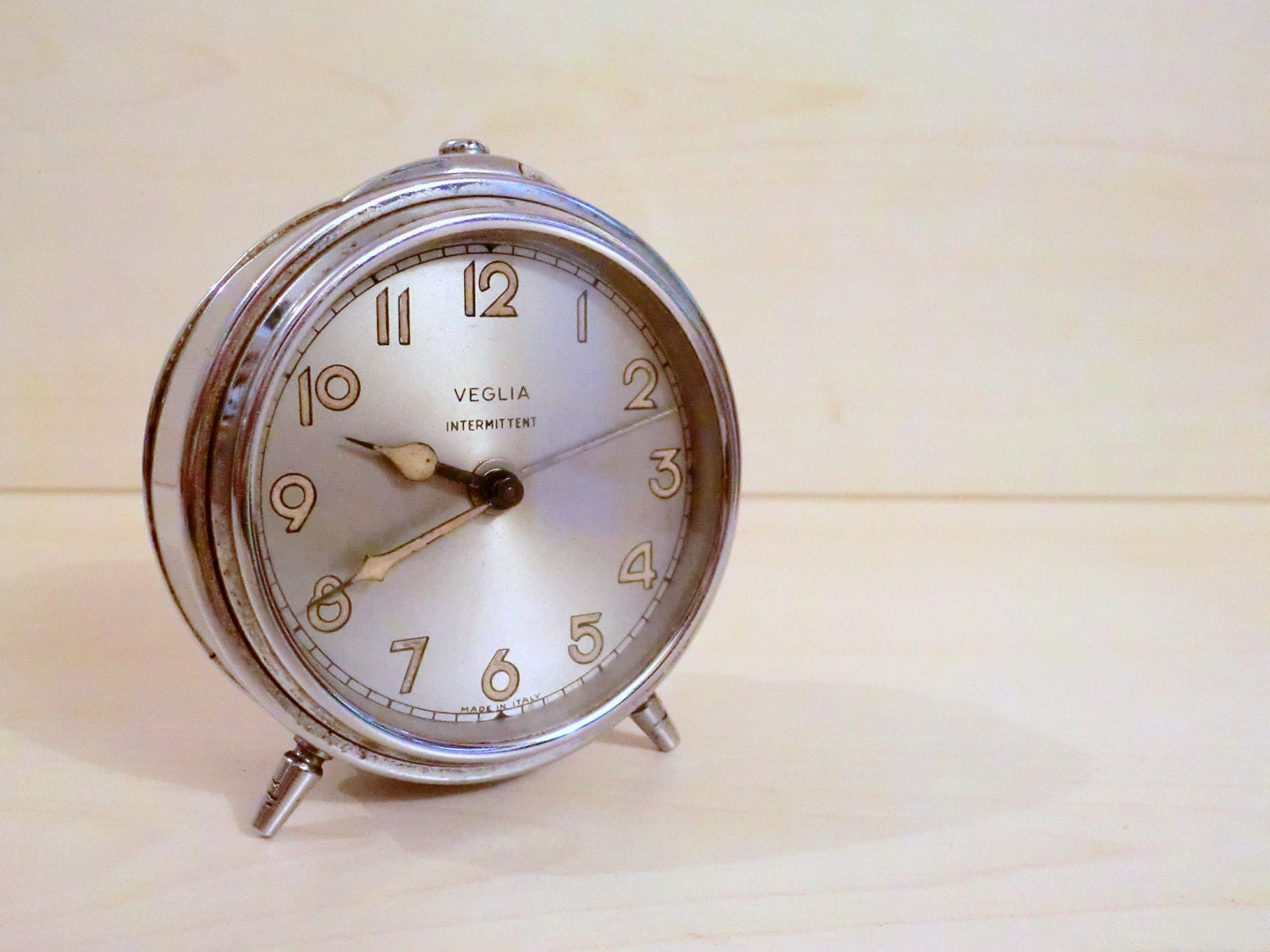 Vintage Small Italian Table Clock Alarm Clock Brand