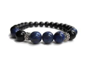 Lapis Lazuli bracelet, Mens bracelet, Protection bracelet, Third Eye chakra bracelet, chakra jewellery, jewellery uk, gemstone bracelet