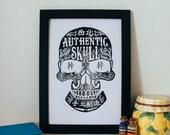 """Vintage Inspired Linocut Poster """"Chinese Ganster Skull"""" Singapore Handmade Linocut Print"""