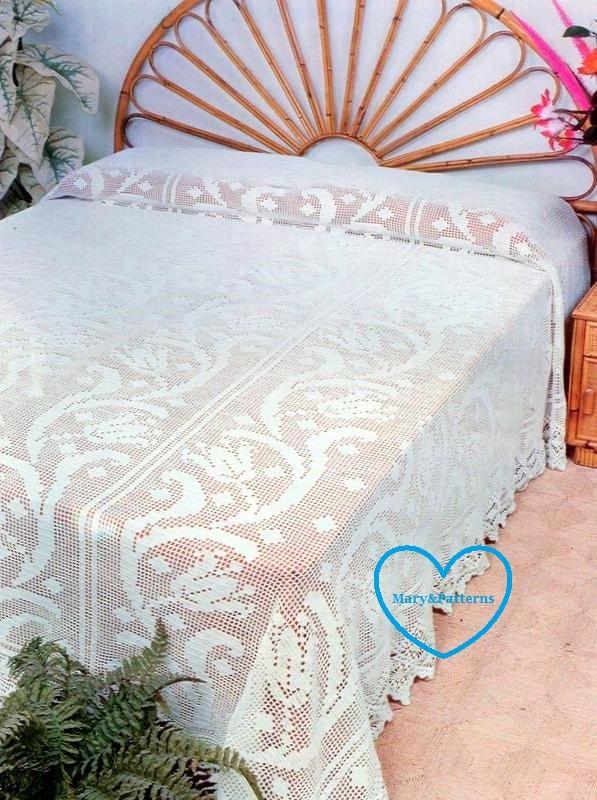 pdf crochet bedspread pattern bedcover crochet blanket home decor vintage crochet from. Black Bedroom Furniture Sets. Home Design Ideas
