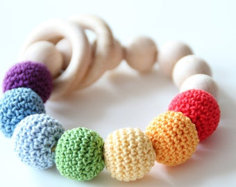 Rainbow Baby Teething toy - bracelet / Teething rattle