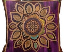 Purple Chakra Decorative Throw Pillow with insert, fine art print, mandala, spiritual, colorful, bold, bright, children, gift