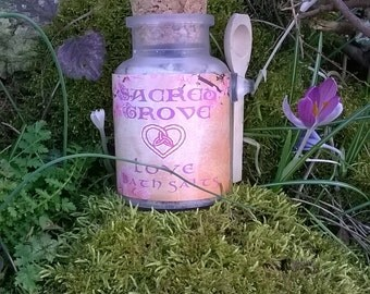 Love Bath Salts - Aromatherapy, Herbal Remidies, Beauty, Spa - Pagan Wiccan Witch Witchcraft Alchemy Magick Spell