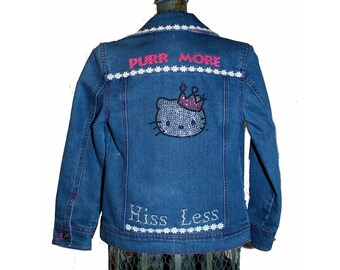 Girl's Jean Jacket (8)  Purr More - Hiss Less,  Upcycled Jean Jacket - from our Caraut Altered Collection of Clothing