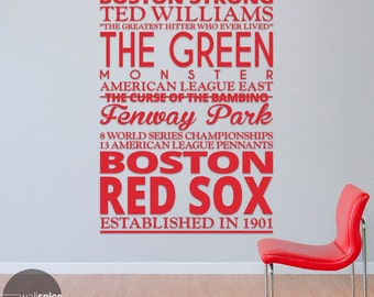 Boston Red Sox Baseball Sports Subway Art Vinyl Wall Decal Sticker